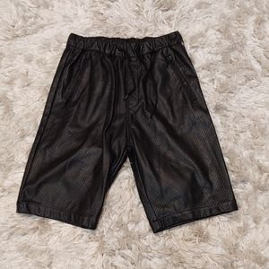 H&M Divided Perforated Black Faux Leather Shorts